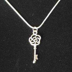 Vintage Flower Key .925 Sterling Silver Necklace